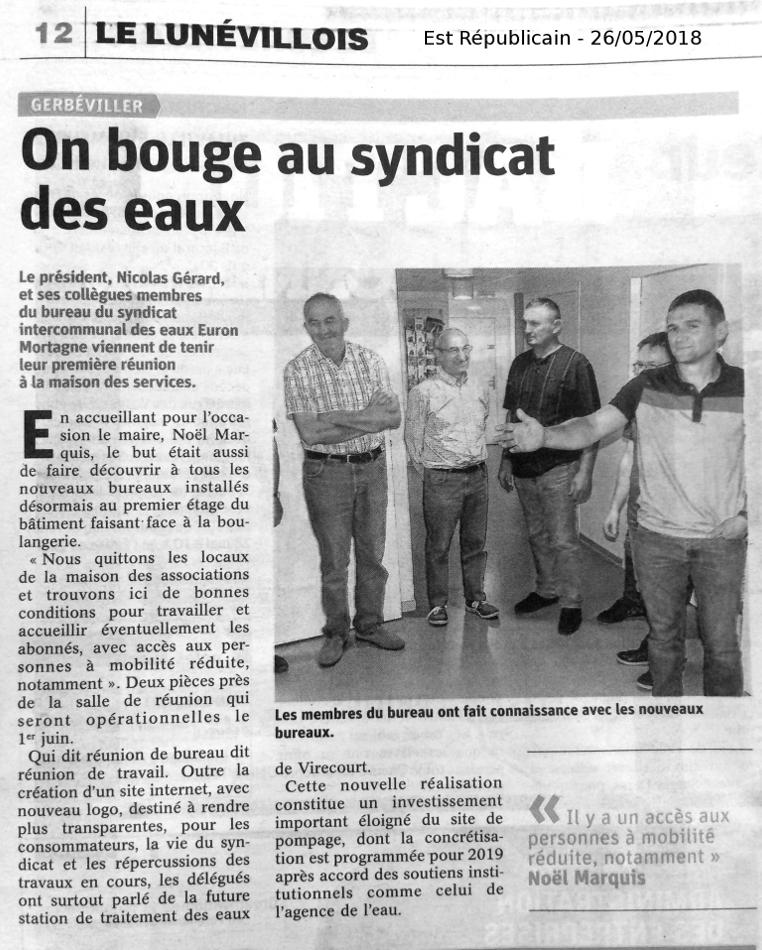 article est républicain 26 mai 2018 : e syndicat des eaux Euron Mortagne  investit de nouveaux locaux à gerbéviller